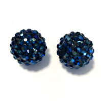 10 Metallic Blue Shamballa beads 18mm Round Rhinestones